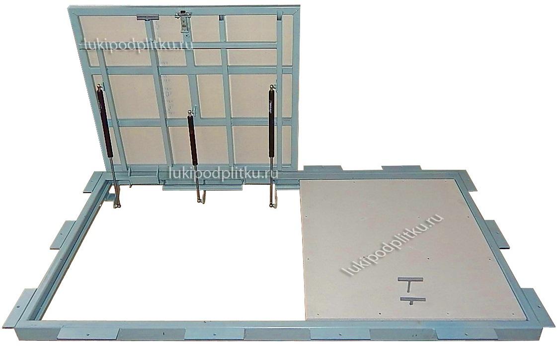 Люк напольный АМО двухдверный в коробе с дополнительными крепежными накладками